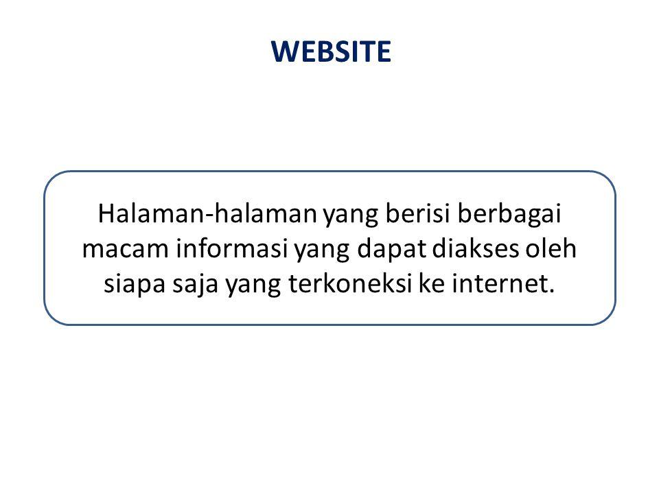 WEBSITE Halaman-halaman yang berisi berbagai macam informasi yang dapat diakses oleh siapa saja yang terkoneksi ke internet.