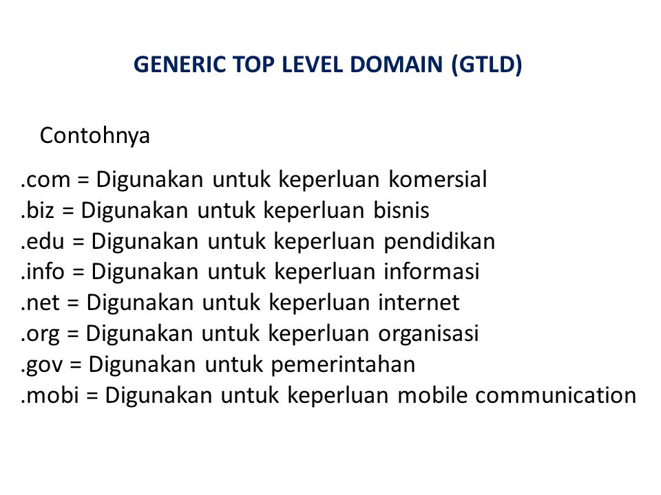 GENERIC TOP LEVEL DOMAIN (GTLD)