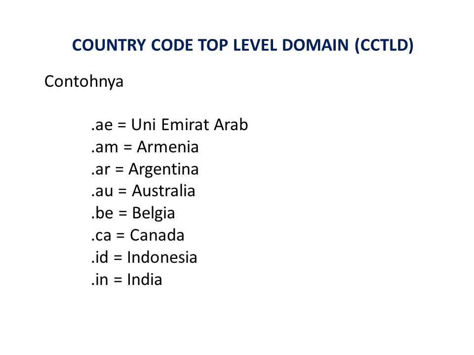 COUNTRY CODE TOP LEVEL DOMAIN (CCTLD)