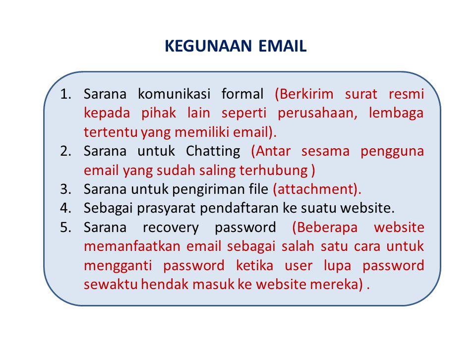 KEGUNAAN EMAIL Sarana komunikasi formal (Berkirim surat resmi kepada pihak lain seperti perusahaan, lembaga tertentu yang memiliki email).