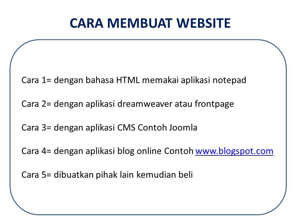 CARA MEMBUAT WEBSITE Cara 1= dengan bahasa HTML memakai aplikasi notepad. Cara 2= dengan aplikasi dreamweaver atau frontpage.