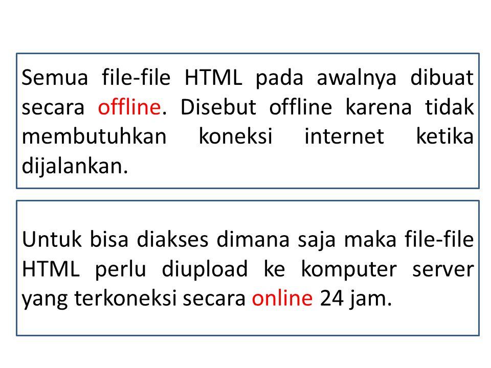 Semua file-file HTML pada awalnya dibuat secara offline