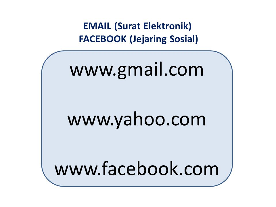 EMAIL (Surat Elektronik) FACEBOOK (Jejaring Sosial)