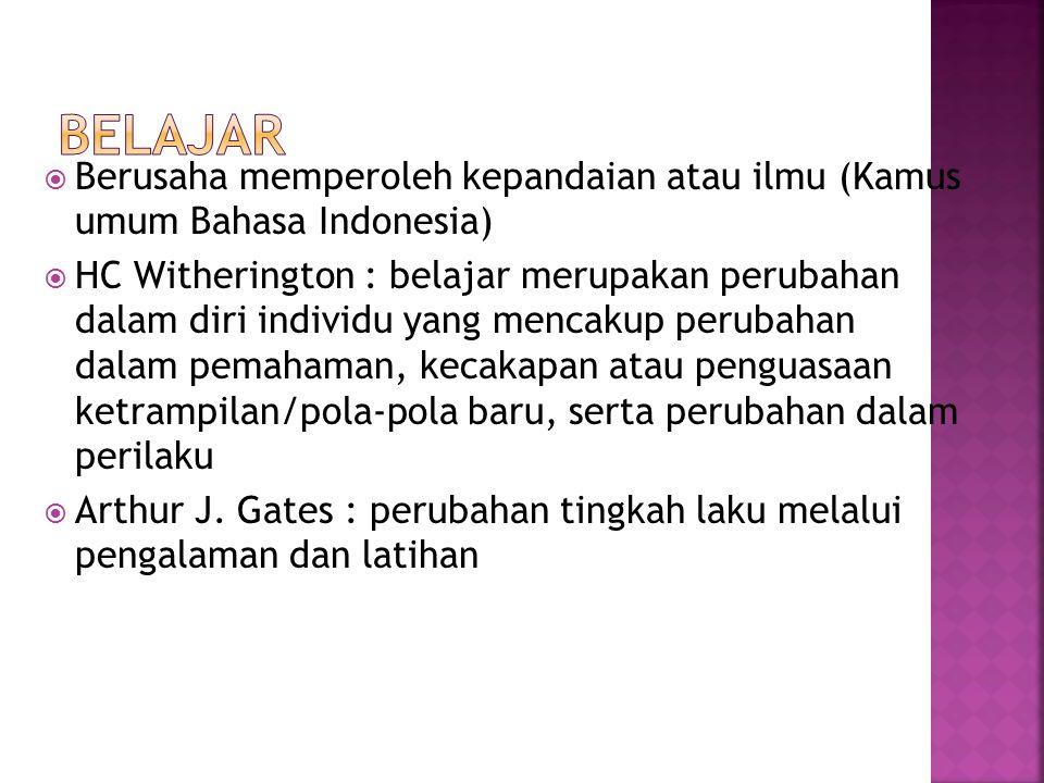 BELAJAR Berusaha memperoleh kepandaian atau ilmu (Kamus umum Bahasa Indonesia)