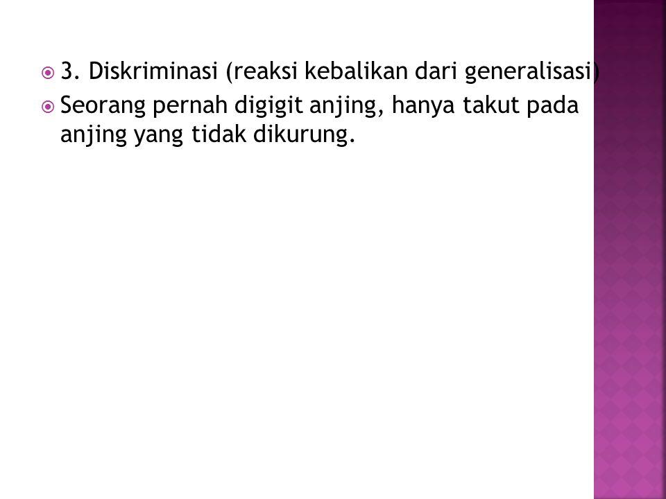 3. Diskriminasi (reaksi kebalikan dari generalisasi)