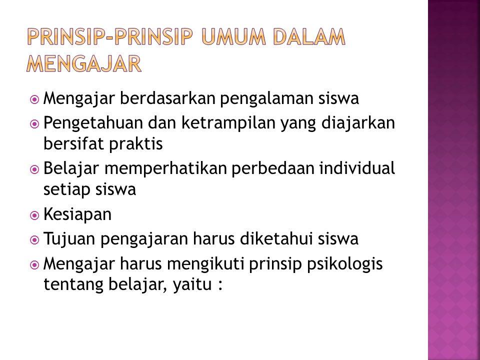 Prinsip-prinsip umum dalam mengajar