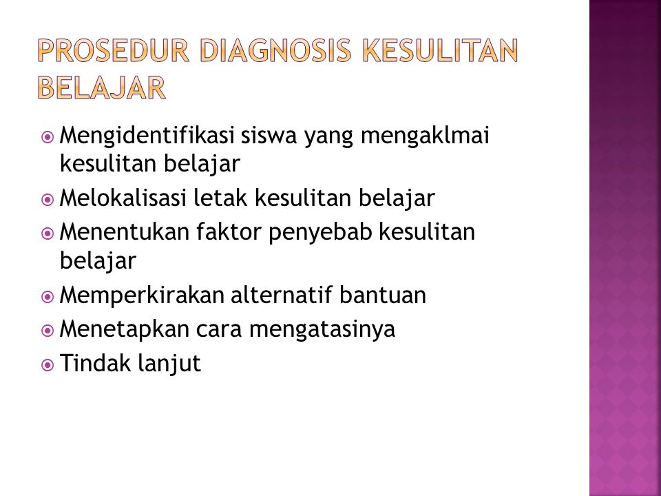 Prosedur diagnosis kesulitan belajar