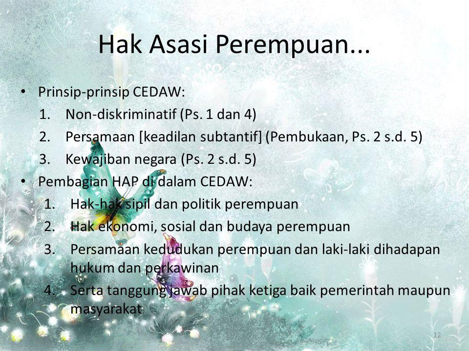 Hak Asasi Perempuan... Prinsip-prinsip CEDAW: