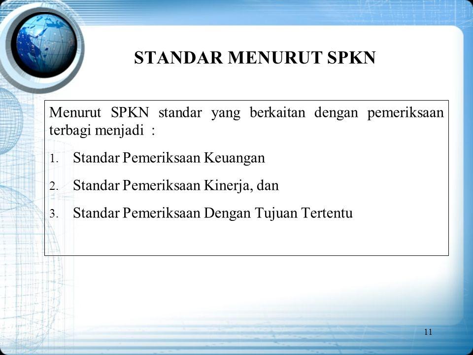 STANDAR MENURUT SPKN Menurut SPKN standar yang berkaitan dengan pemeriksaan terbagi menjadi : Standar Pemeriksaan Keuangan.