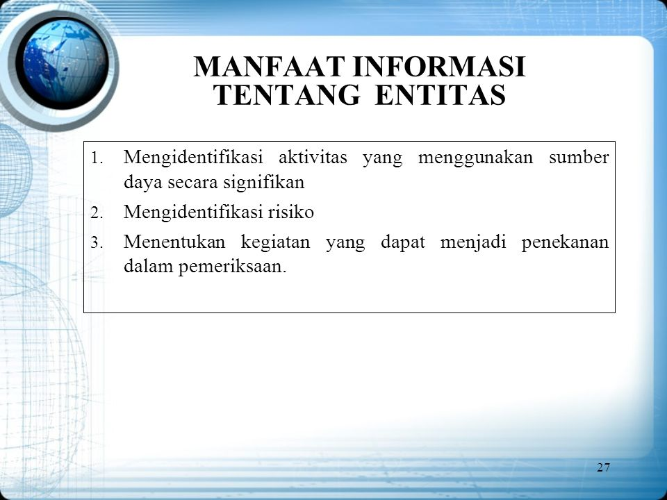 MANFAAT INFORMASI TENTANG ENTITAS