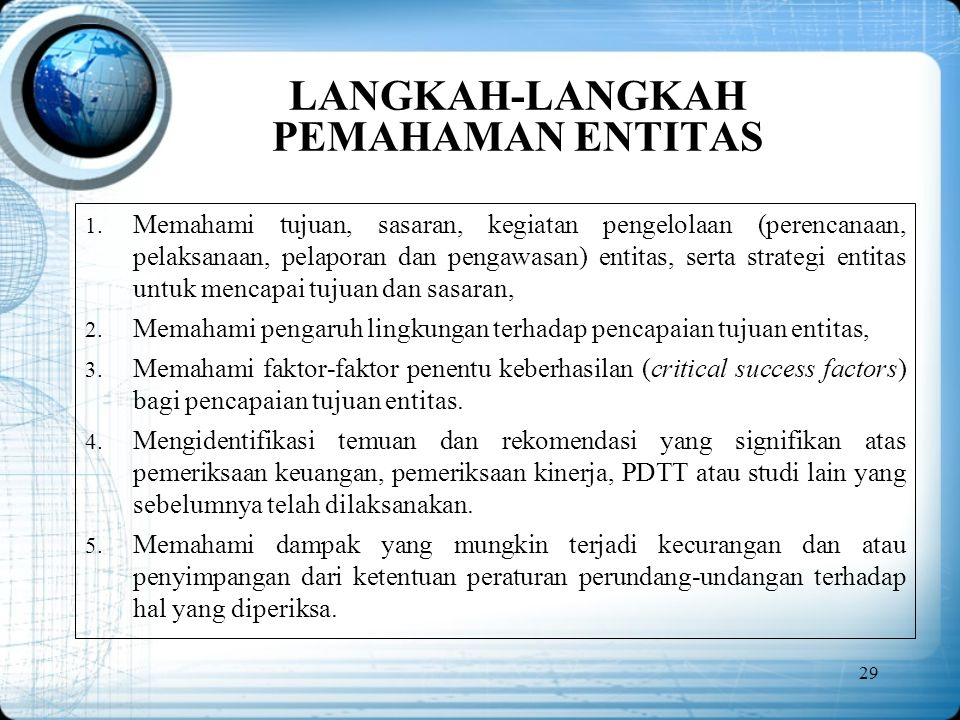 LANGKAH-LANGKAH PEMAHAMAN ENTITAS