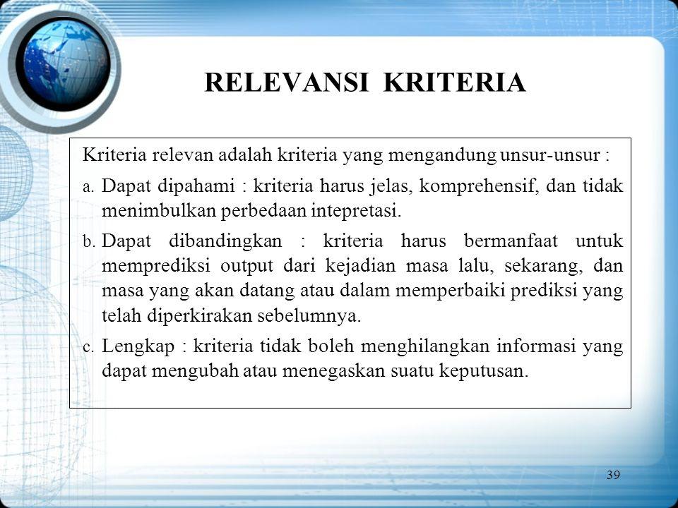 RELEVANSI KRITERIA Kriteria relevan adalah kriteria yang mengandung unsur-unsur :