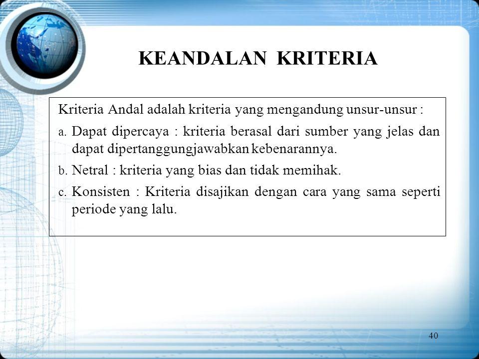KEANDALAN KRITERIA Kriteria Andal adalah kriteria yang mengandung unsur-unsur :