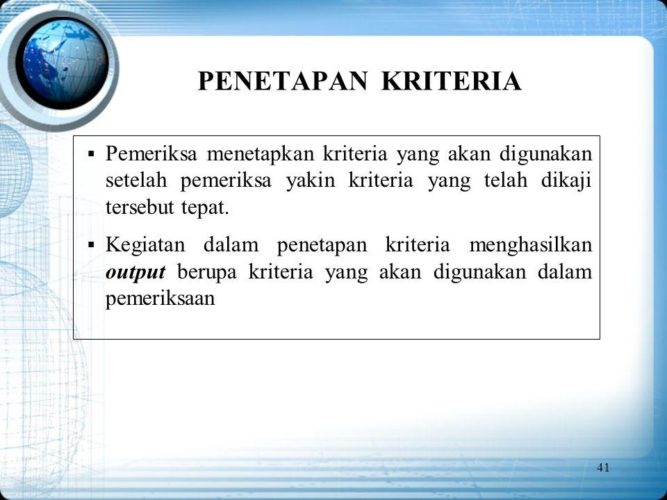 PENETAPAN KRITERIA Pemeriksa menetapkan kriteria yang akan digunakan setelah pemeriksa yakin kriteria yang telah dikaji tersebut tepat.