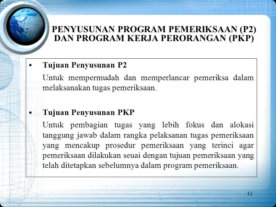PENYUSUNAN PROGRAM PEMERIKSAAN (P2) DAN PROGRAM KERJA PERORANGAN (PKP)