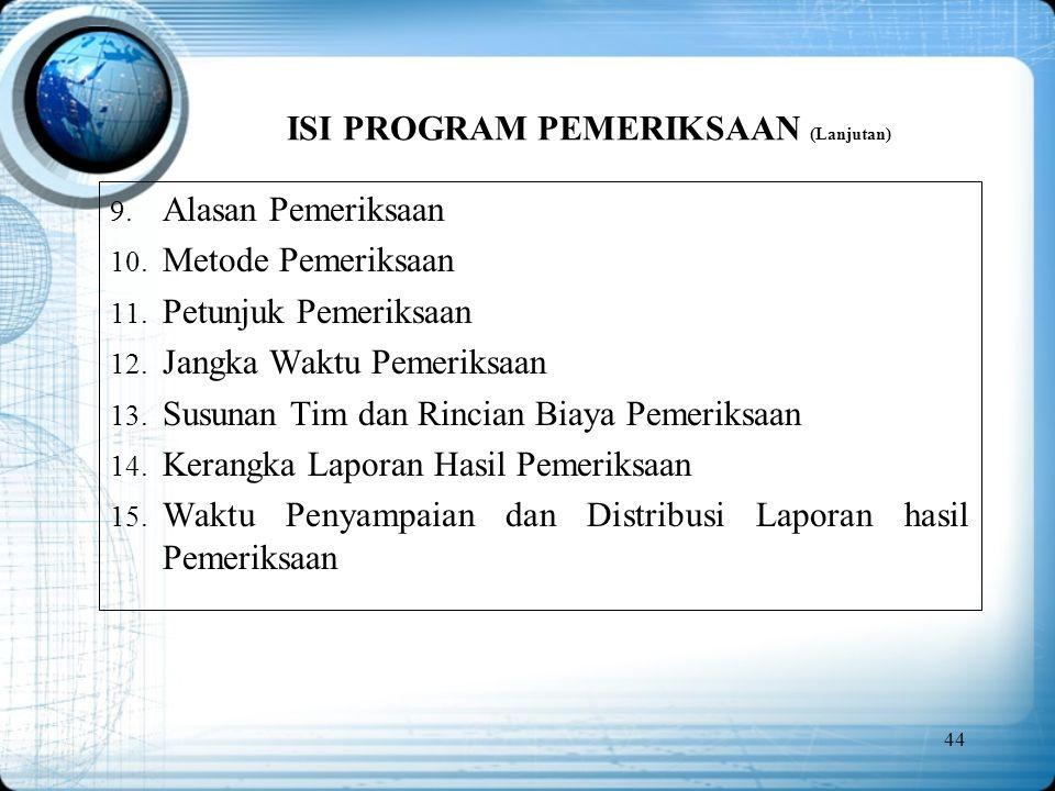 ISI PROGRAM PEMERIKSAAN (Lanjutan)