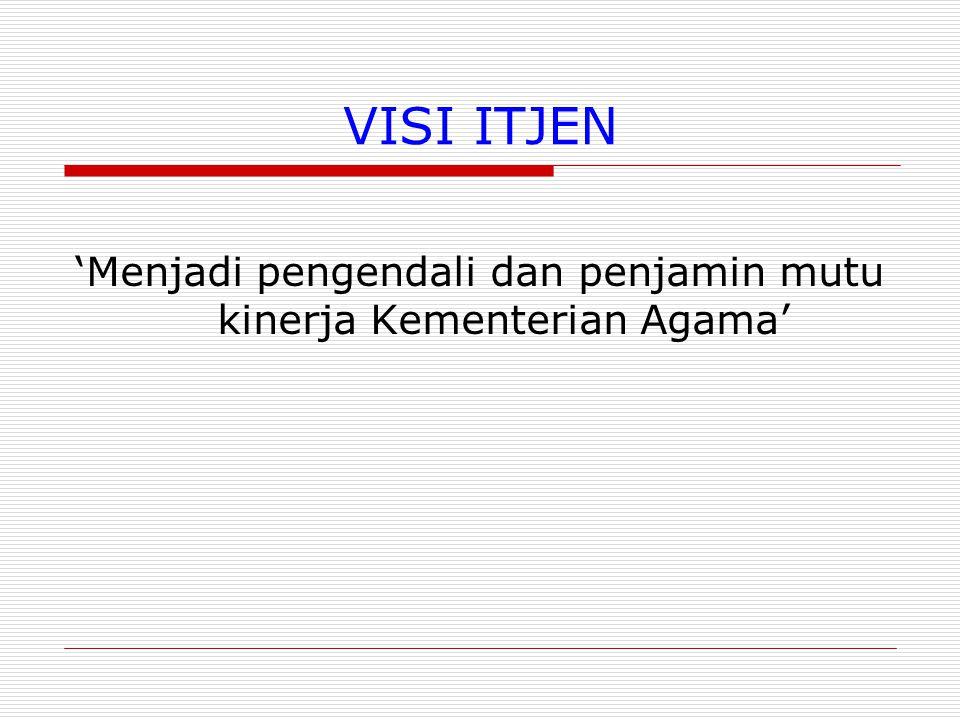 'Menjadi pengendali dan penjamin mutu kinerja Kementerian Agama'