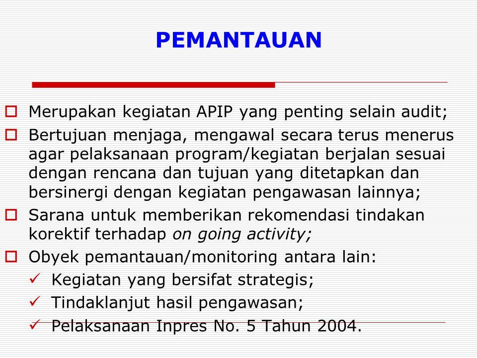 PEMANTAUAN Merupakan kegiatan APIP yang penting selain audit;