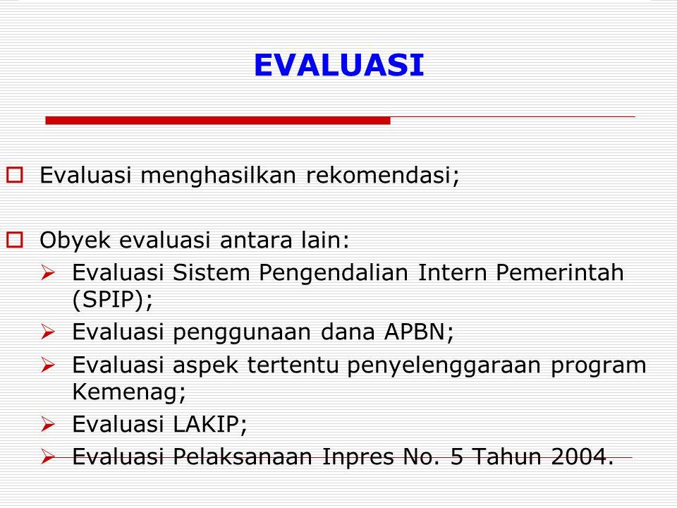 EVALUASI Evaluasi menghasilkan rekomendasi;