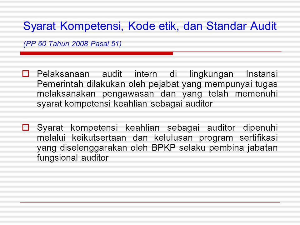 Syarat Kompetensi, Kode etik, dan Standar Audit (PP 60 Tahun 2008 Pasal 51)