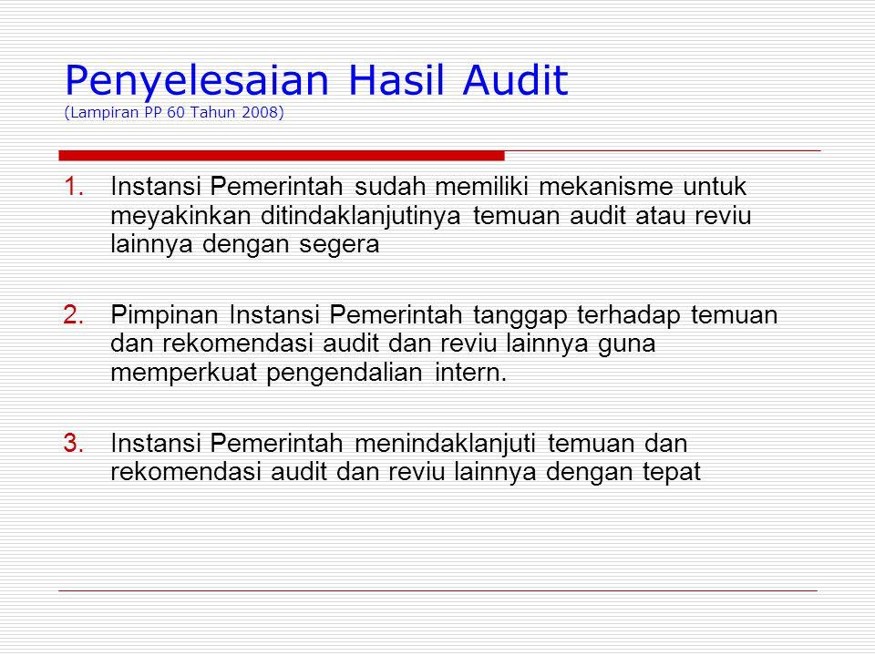Penyelesaian Hasil Audit (Lampiran PP 60 Tahun 2008)