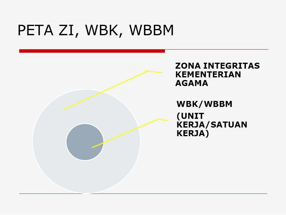 PETA ZI, WBK, WBBM ZONA INTEGRITAS KEMENTERIAN AGAMA WBK/WBBM