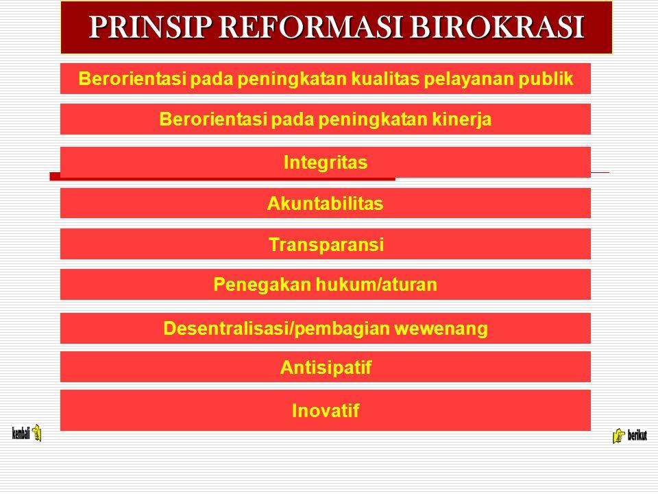 PRINSIP REFORMASI BIROKRASI