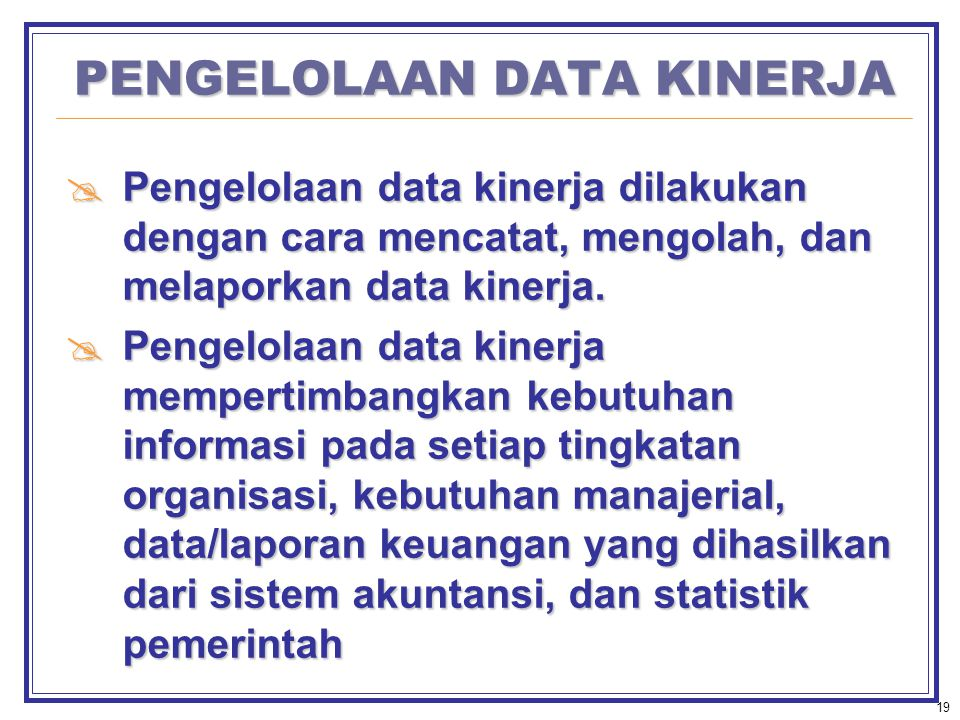 PENGELOLAAN DATA KINERJA