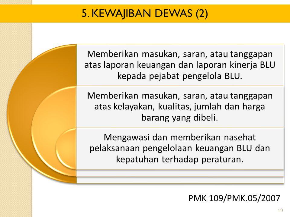 5. KEWAJIBAN DEWAS (2) Memberikan masukan, saran, atau tanggapan atas laporan keuangan dan laporan kinerja BLU kepada pejabat pengelola BLU.
