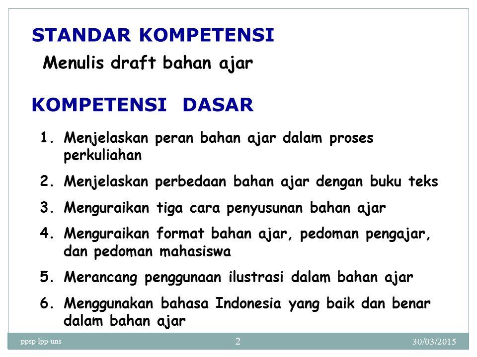 STANDAR KOMPETENSI KOMPETENSI DASAR Menulis draft bahan ajar