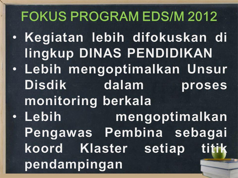 FOKUS PROGRAM EDS/M 2012 Kegiatan lebih difokuskan di lingkup DINAS PENDIDIKAN. Lebih mengoptimalkan Unsur Disdik dalam proses monitoring berkala.