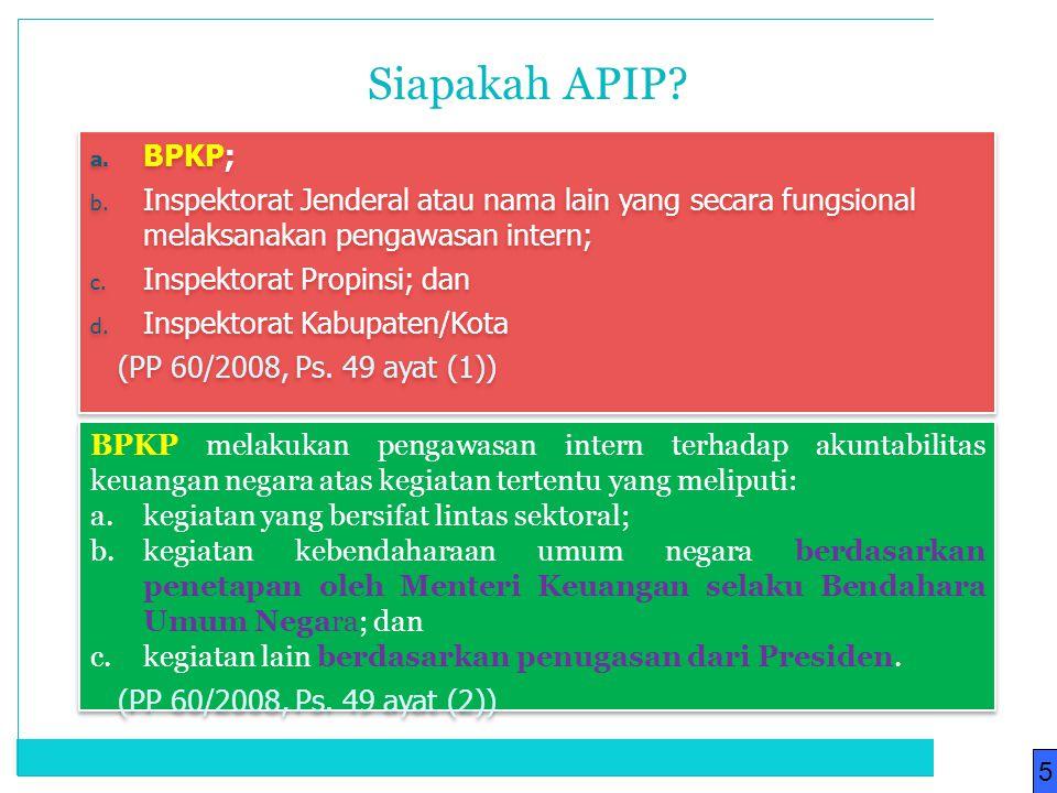 Siapakah APIP BPKP; Inspektorat Jenderal atau nama lain yang secara fungsional melaksanakan pengawasan intern;