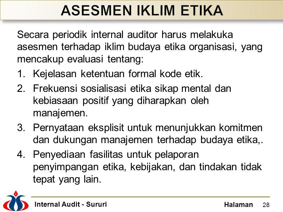 ASESMEN IKLIM ETIKA Secara periodik internal auditor harus melakuka asesmen terhadap iklim budaya etika organisasi, yang mencakup evaluasi tentang: