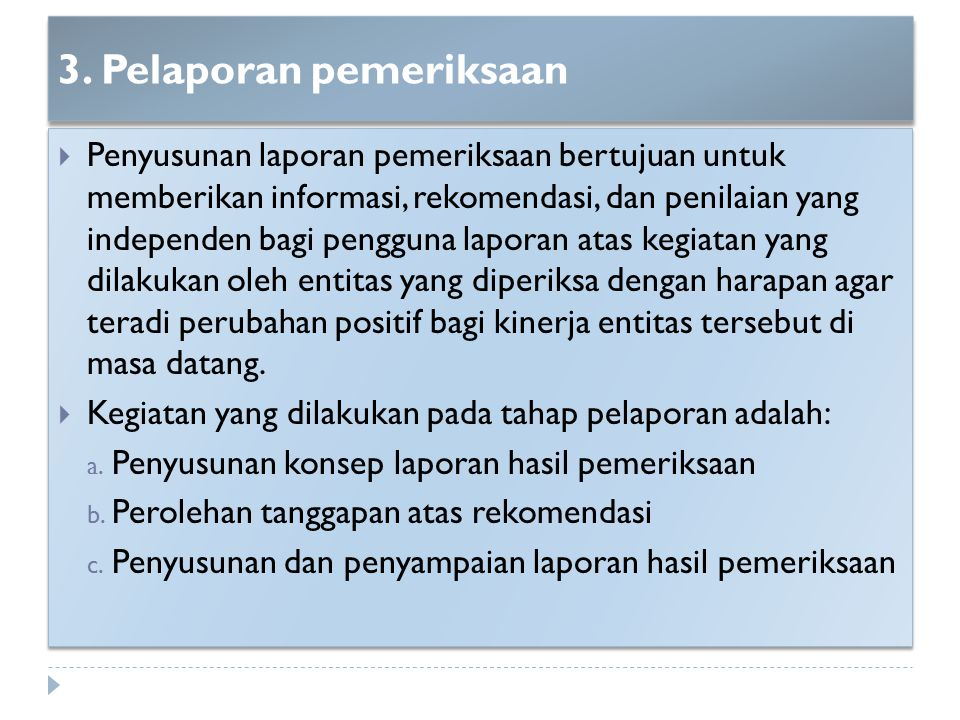3. Pelaporan pemeriksaan