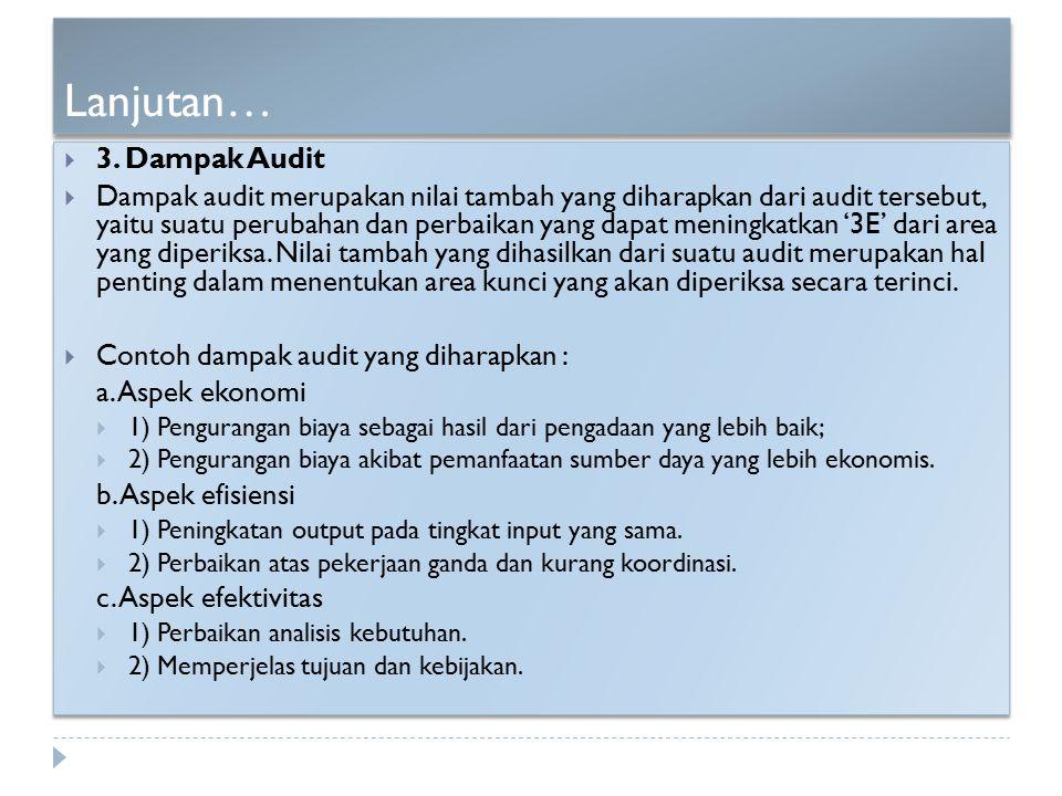 Lanjutan… 3. Dampak Audit