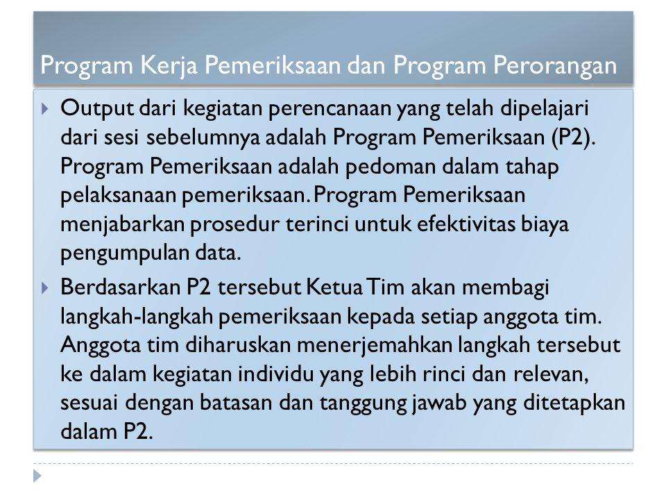 Program Kerja Pemeriksaan dan Program Perorangan