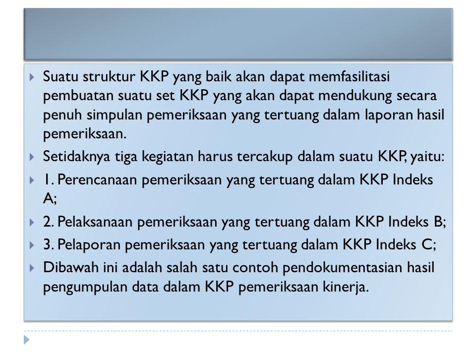 Suatu struktur KKP yang baik akan dapat memfasilitasi pembuatan suatu set KKP yang akan dapat mendukung secara penuh simpulan pemeriksaan yang tertuang dalam laporan hasil pemeriksaan.