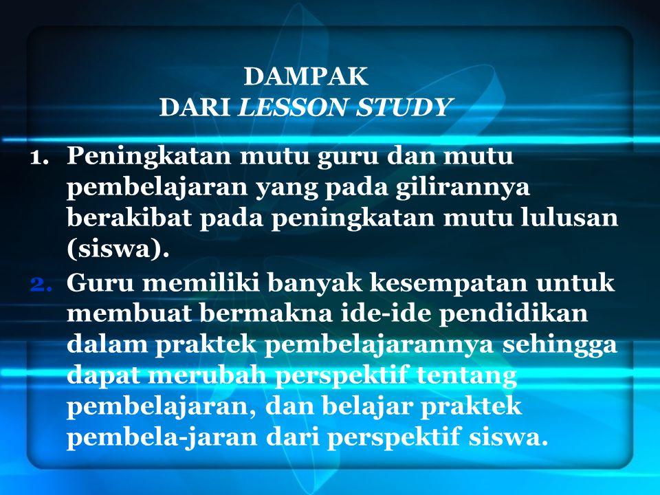 DAMPAK DARI LESSON STUDY