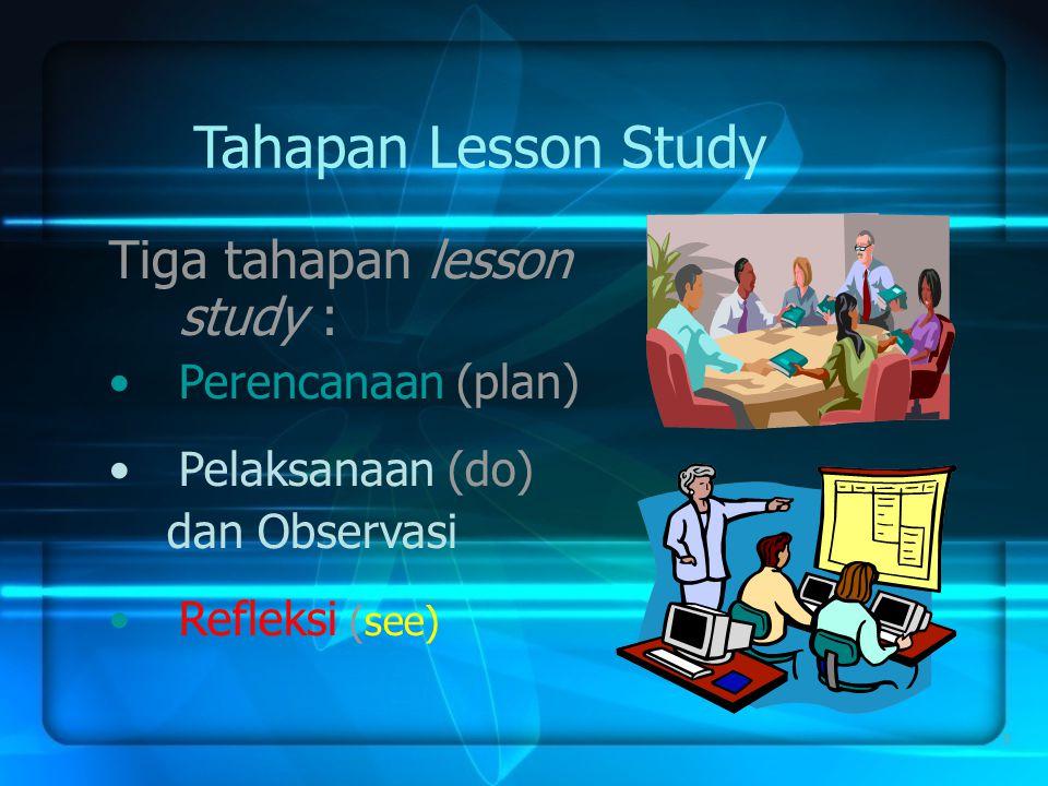 Tahapan Lesson Study Tiga tahapan lesson study : Perencanaan (plan)