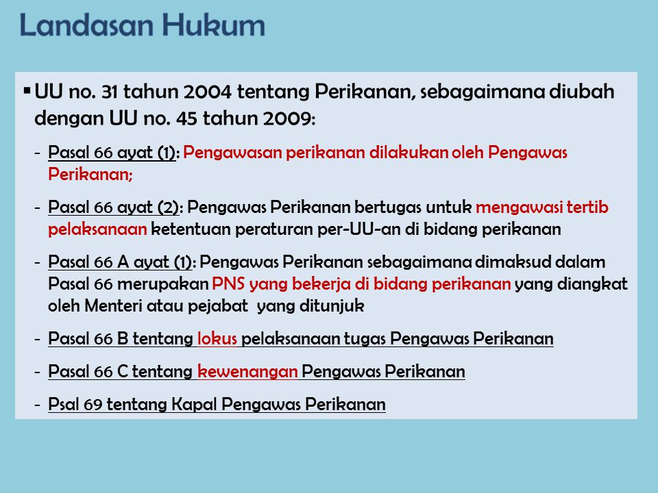 Landasan Hukum UU no. 31 tahun 2004 tentang Perikanan, sebagaimana diubah dengan UU no. 45 tahun 2009: