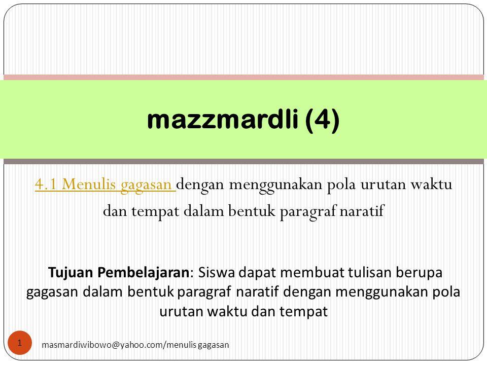 mazzmardli (4) 4.1 Menulis gagasan dengan menggunakan pola urutan waktu. dan tempat dalam bentuk paragraf naratif.