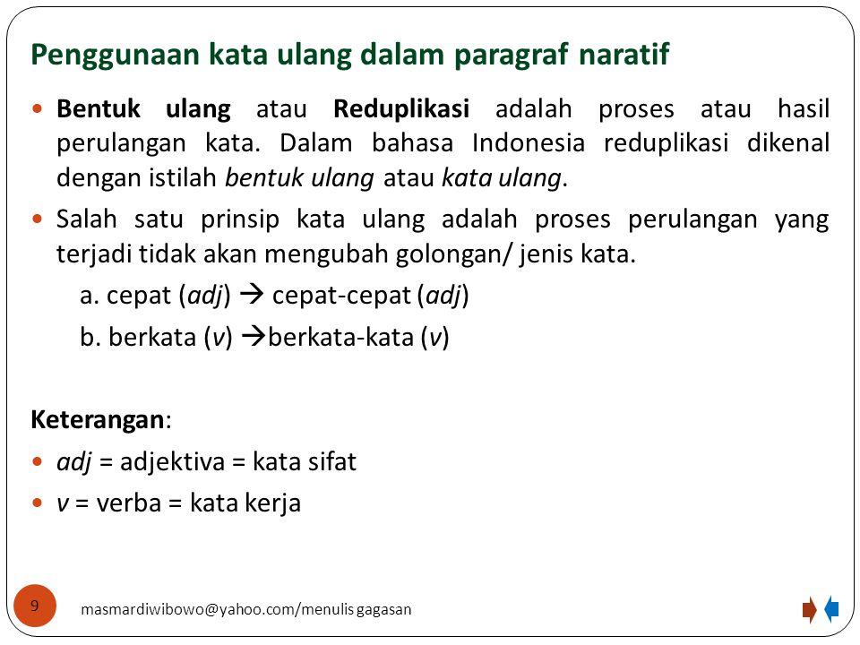 Penggunaan kata ulang dalam paragraf naratif