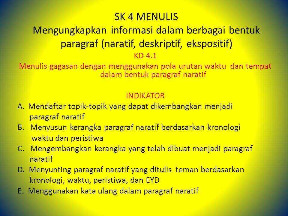 SK 4 MENULIS Mengungkapkan informasi dalam berbagai bentuk paragraf (naratif, deskriptif, ekspositif)