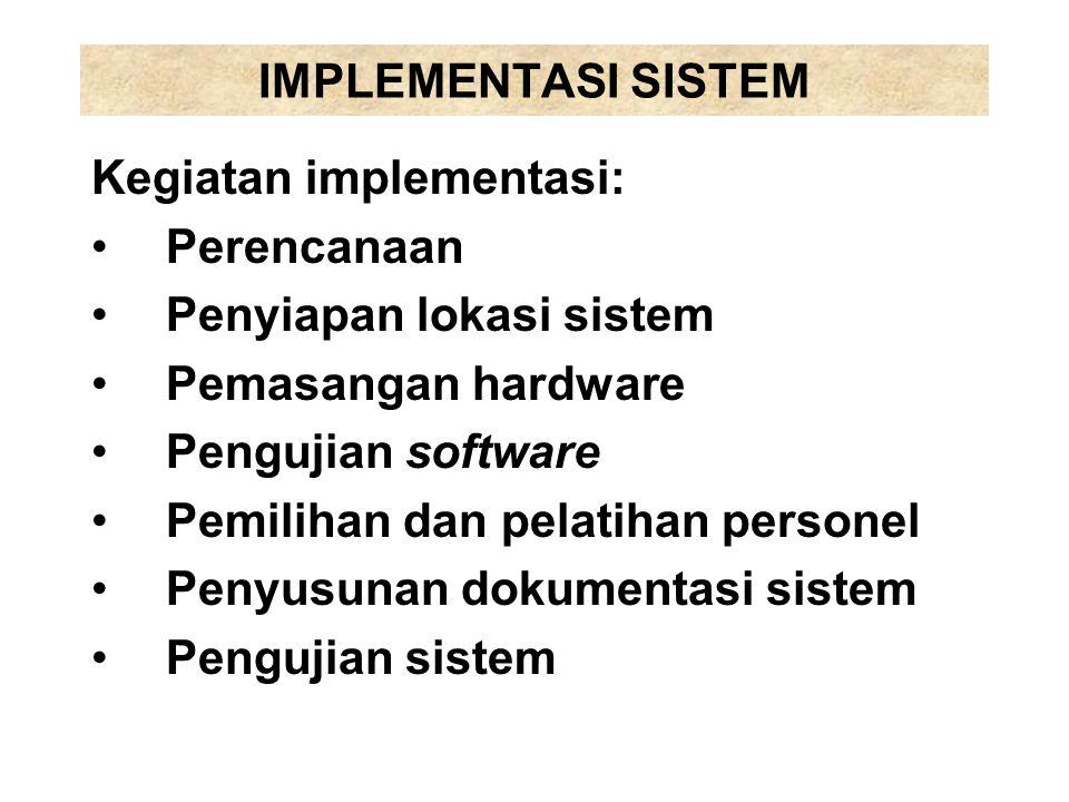 IMPLEMENTASI SISTEM Kegiatan implementasi: Perencanaan. Penyiapan lokasi sistem. Pemasangan hardware.