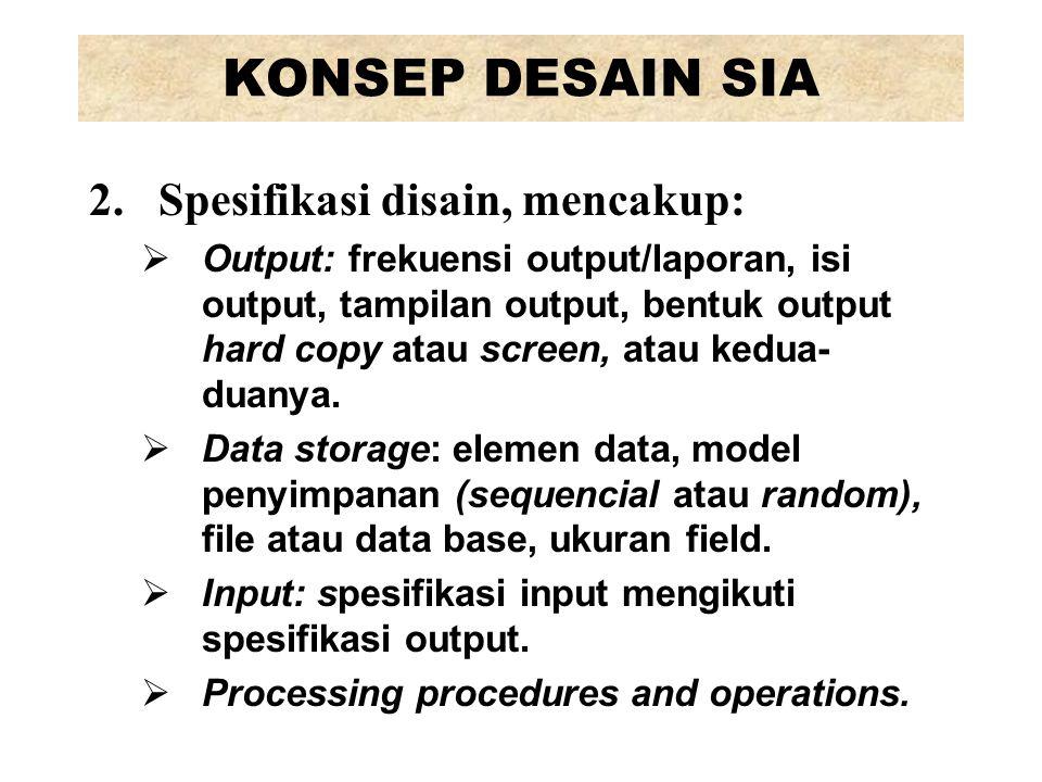 KONSEP DESAIN SIA Spesifikasi disain, mencakup:
