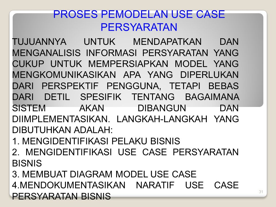 PROSES PEMODELAN USE CASE PERSYARATAN