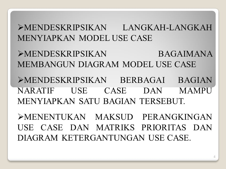 MENDESKRIPSIKAN LANGKAH-LANGKAH MENYIAPKAN MODEL USE CASE