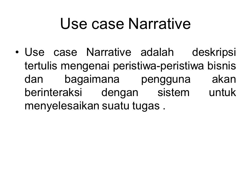 Use case Narrative
