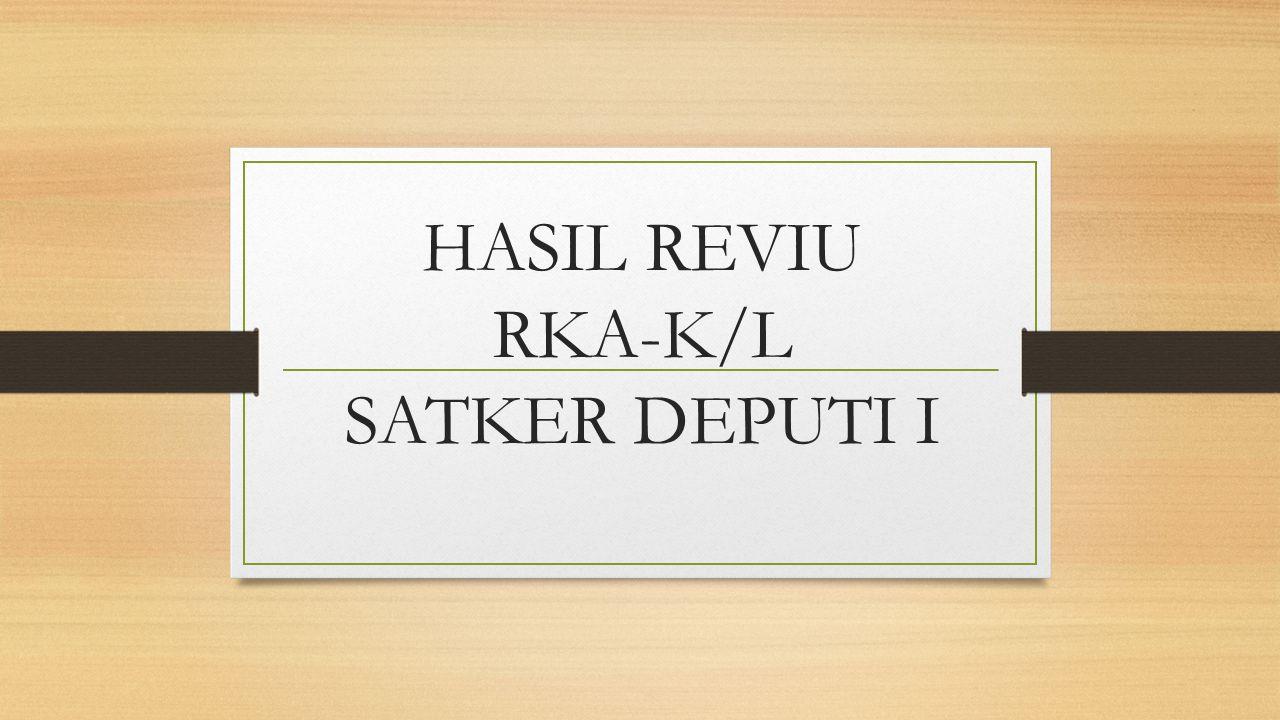 HASIL REVIU RKA-K/L SATKER DEPUTI I