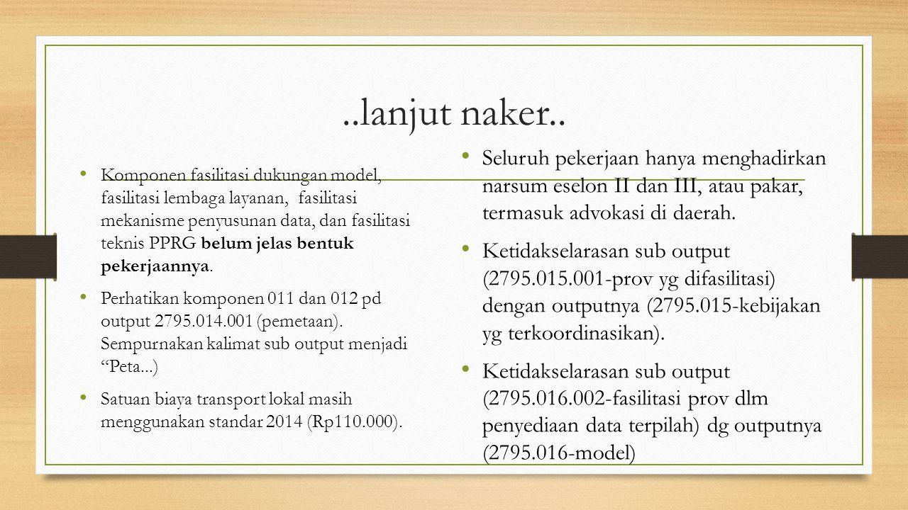 ..lanjut naker.. Seluruh pekerjaan hanya menghadirkan narsum eselon II dan III, atau pakar, termasuk advokasi di daerah.